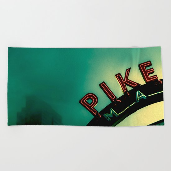 Pike Place Market at Dawn Beach Towel