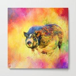 Jazzy Pig Colorful Animal Art by Jai Johnson Metal Print