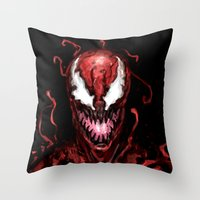 carnage Throw Pillows featuring Carnage by dariiy