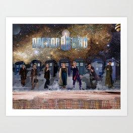 7 Doctors and the Daleks Art Print