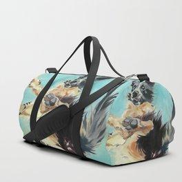 Let's Fly Border Collie Dog Portrait Duffle Bag