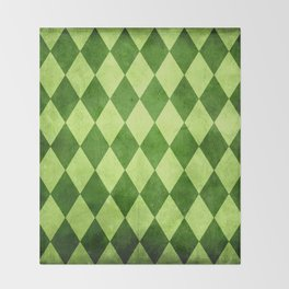 Green Harlequin Grunge Throw Blanket