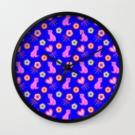 Funny happy little pink baby bear cubs, sweet vintage retro lollipops cute girly blue winter pattern Wall Clock
