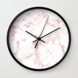 Pink Rose Gold Marble Natural Stone Gold Metallic Veining White Quartz Wall Clock