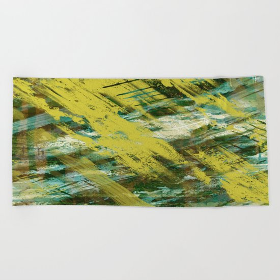 Hidden Meaning - Abstract, oil painting in yellow, green, blue, white and brown Beach Towel