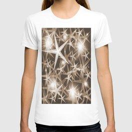stars brown white elegant modern pattern T-shirt