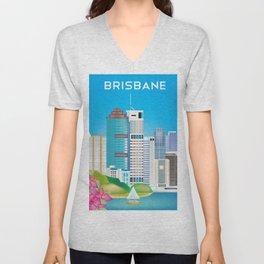 Brisbane, Australia - Skyline Illustration by Loose Petals Unisex V-Neck