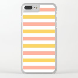 Yellow, coral and white horizontal stripes Clear iPhone Case