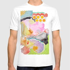 Abstract Watercolor White Mens Fitted Tee MEDIUM