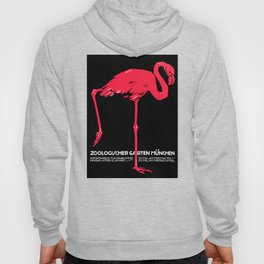 Vintage Pink flamingo Munich Zoo travel ad Hoody
