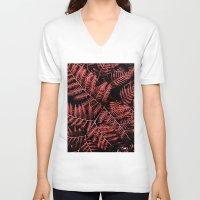 burgundy V-neck T-shirts featuring Burgundy Bracken by Moonshine Paradise