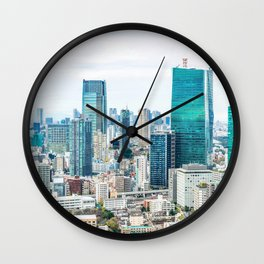city skyline aerial view under bright blue sky in Tokyo, Japan Wall Clock