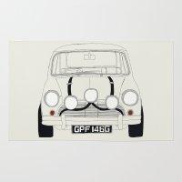 mini cooper Area & Throw Rugs featuring The Italian Job White Mini Cooper by Martin Lucas