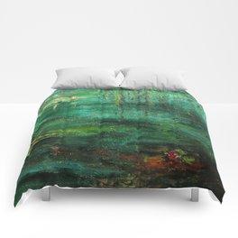 Dark Green Monet´s Theme of Waterlilies Comforters