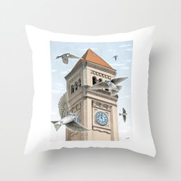 Clock Tower with Swallows Throw Pillow
