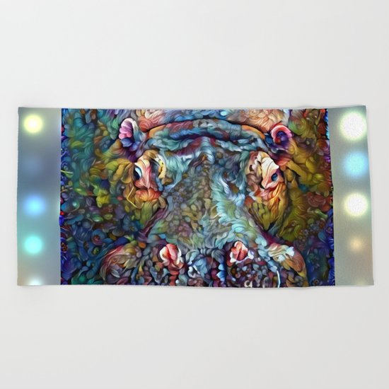 Whimsical Hippo Beach Towel