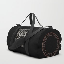 Old norse design - Two Jellinge-style entwined beasts originally carved on a rune stone in Gotland. Duffle Bag