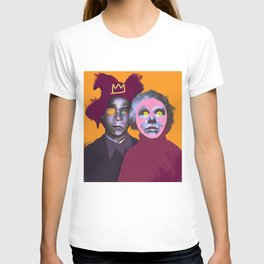 JM Basquiat and Andy, POP art style, digitally painted T-shirt