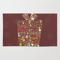 gift card Area & Throw Rugs featuring Christmas Gift 01 by BlueLela