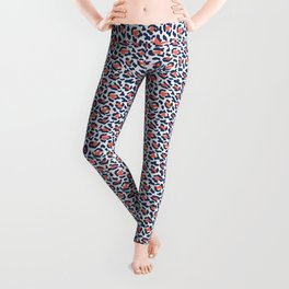 Abstract Leopard Print in Coral and Navy Blue Leggings