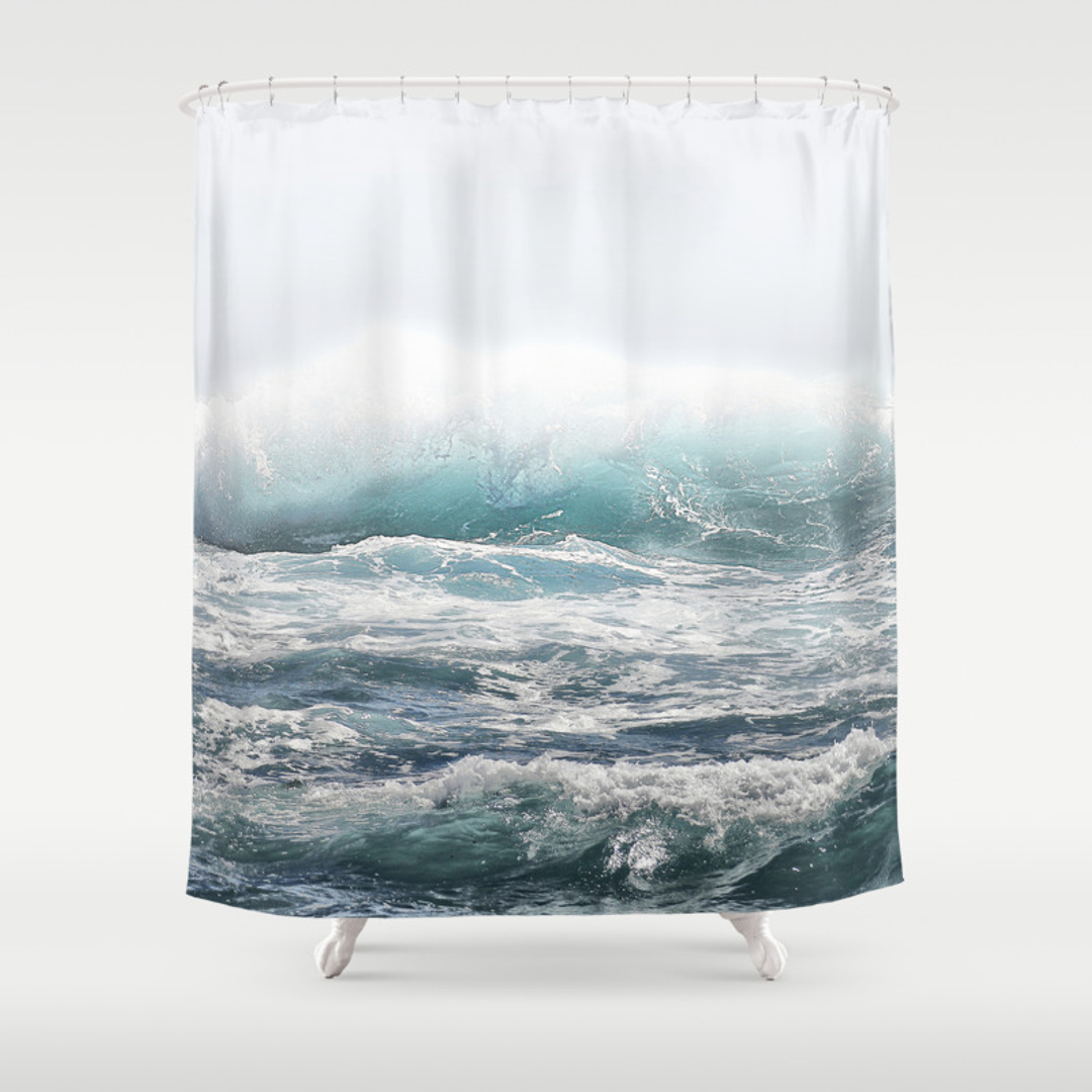 surfing shower curtains society6. Black Bedroom Furniture Sets. Home Design Ideas
