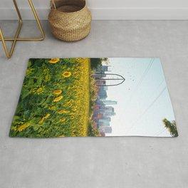 Minneapolis Minnesota Skyline and Sunflowers-Mpls Rug