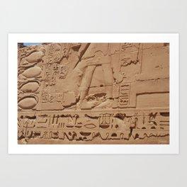 Ancient Egyptian hieroglyphics, Luxor, Egypt Art Print