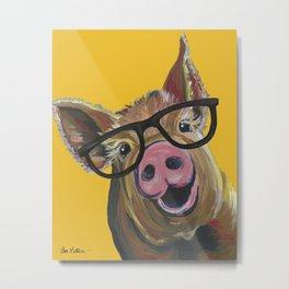 Pig with Glasses Art, Farm Animal, Cute Pig Art Metal Print