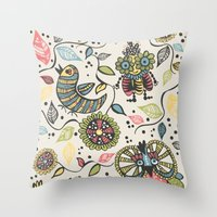 woodland Throw Pillows featuring Woodland by Sarah Doherty