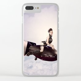 """Up and Atom"" - The Playful Pinup - Military Bomb Pin-up Girl by Maxwell H. Johnson Clear iPhone Case"