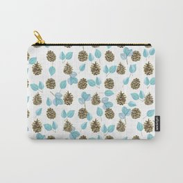 Modern teal brown botanical leaves pinecone pattern Carry-All Pouch