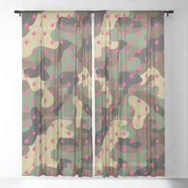 CAMO & HOT PINK BOMB DIGGITYS ALL OVER LARGE Sheer Curtain