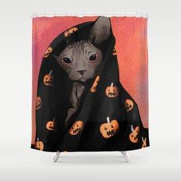 Brown Sphynx Cat Snuggled Up In a Halloween Pumpkin Blanket Shower Curtain