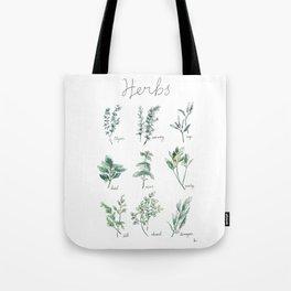 Herbs Botanical Illustration Tote Bag