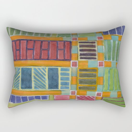 Orange-Turquoise Grid with different Fillings Rectangular Pillow