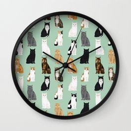Cat breeds pattern kitty kittens cats tabby siamese white tortoiseshell Wall Clock