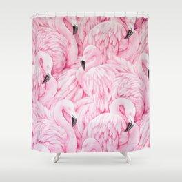 Elegant blush pink flamingo tropical bird pattern Shower Curtain
