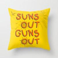 guns Throw Pillows featuring Guns Out by Free Specie