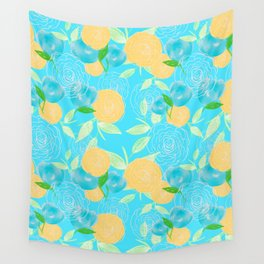 06 Yellow Blooms on Blue Wall Tapestry