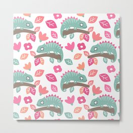 cute colorful pattern background with chameleons, leaves and flowers Metal Print
