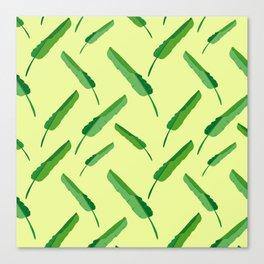 Banana leaves pattern yellow Canvas Print
