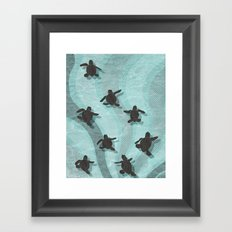Loggerhead sea turtle hatchlings Framed Art Print