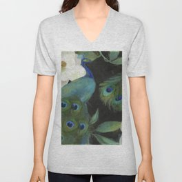Peacock and Magnolia III Unisex V-Neck