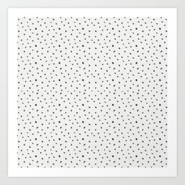 Hand painted black white watercolor polka dots brushstrokes Art Print