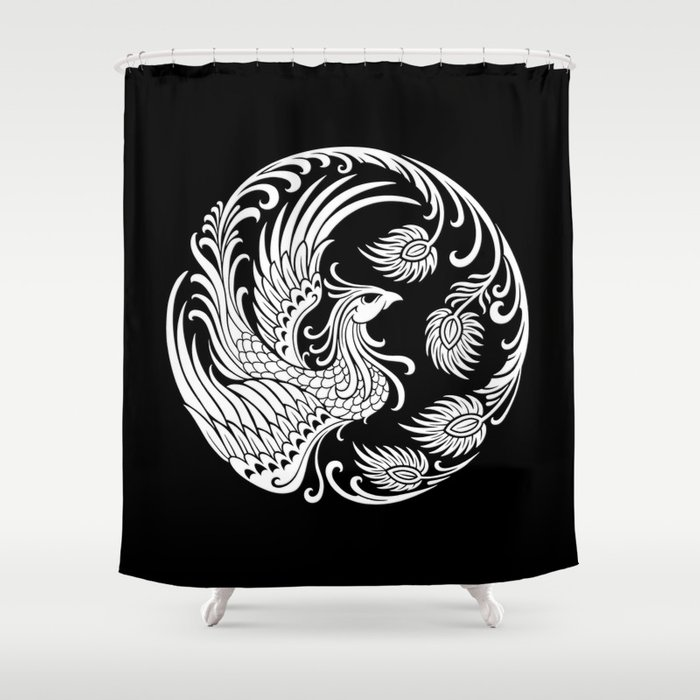 Traditional White And Black Chinese Phoenix Circle Shower Curtain