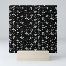 Black And White Scorpio zodiac hand drawn pattern Mini Art Print