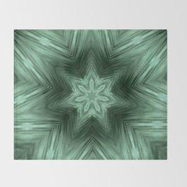 Green Star Flower Blossom Metallic Color #Pattern #Background Throw Blanket