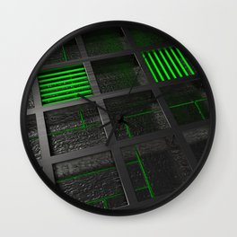 Futuristic industrial brushed metal grate with glowing lines Wall Clock