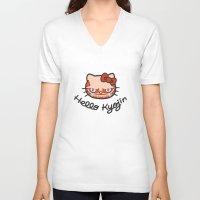shingeki no kyojin V-neck T-shirts featuring HELLO KYOJIN by emperorofruin