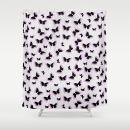 Black and pink butterflies Shower Curtain